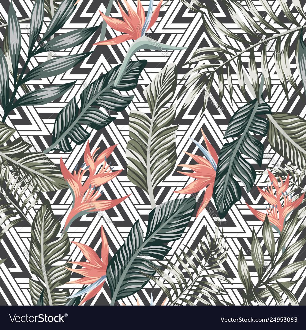 Palm leaves tropical flowers seamless geometric