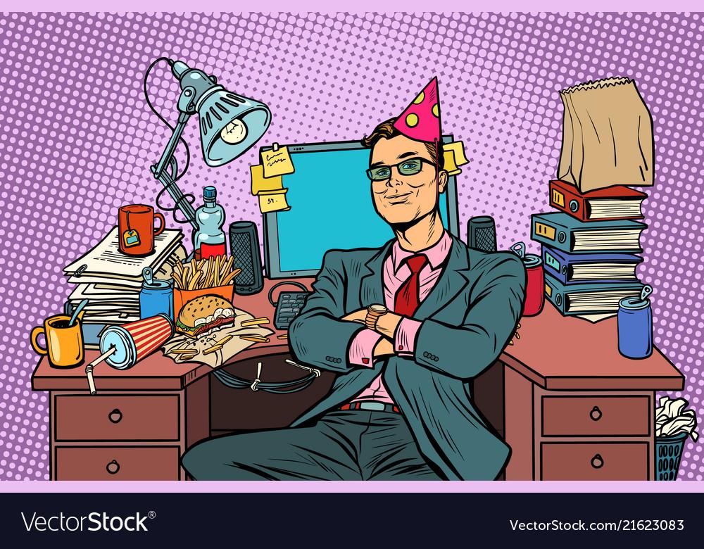 Pop art businessman birthday workplace