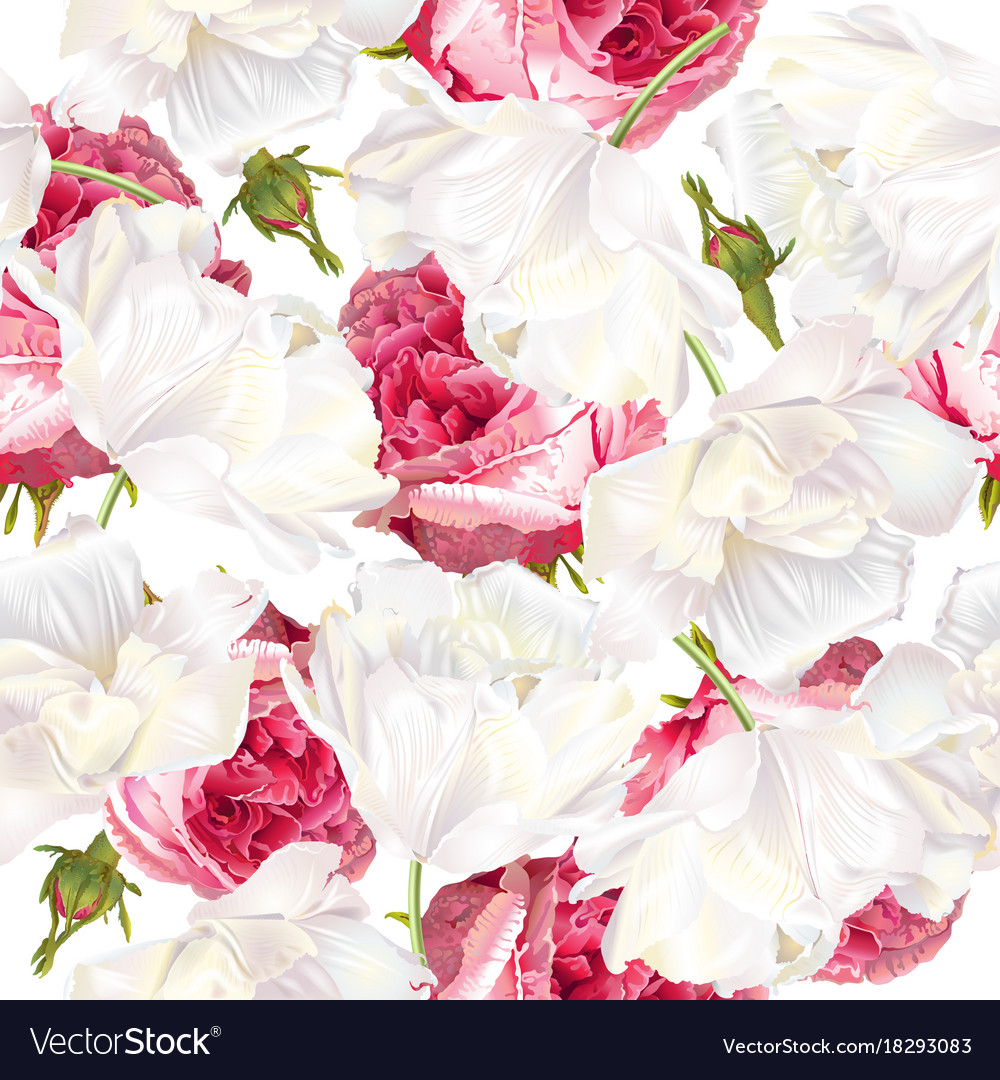 Rose tulip seamless pattern vector