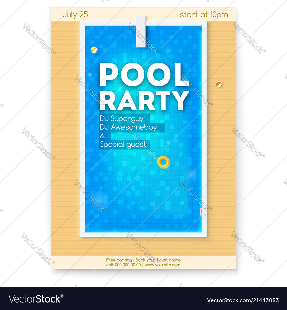 Summer party in swimming pool poster with design