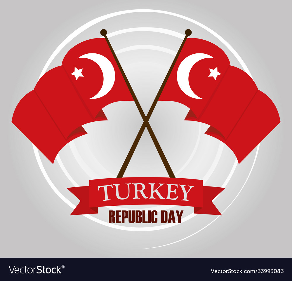 Turkey republic day waving and crossed flags
