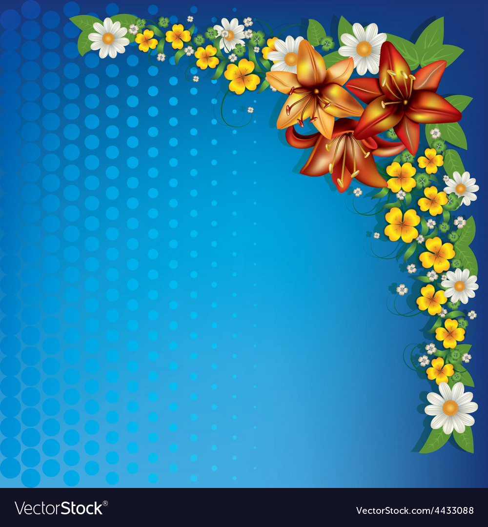 Abstract Blue Floral Background With Spring