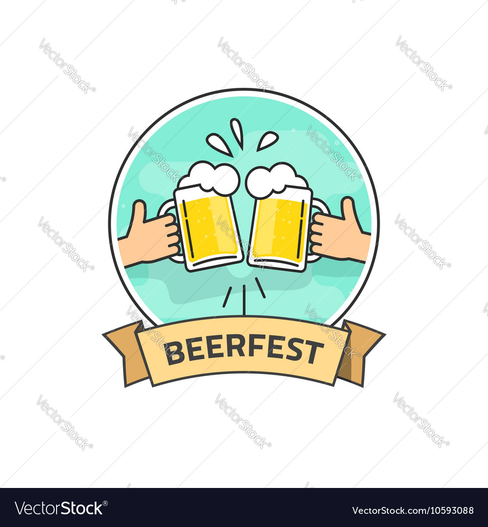 Beer festival label isolated on white vector image