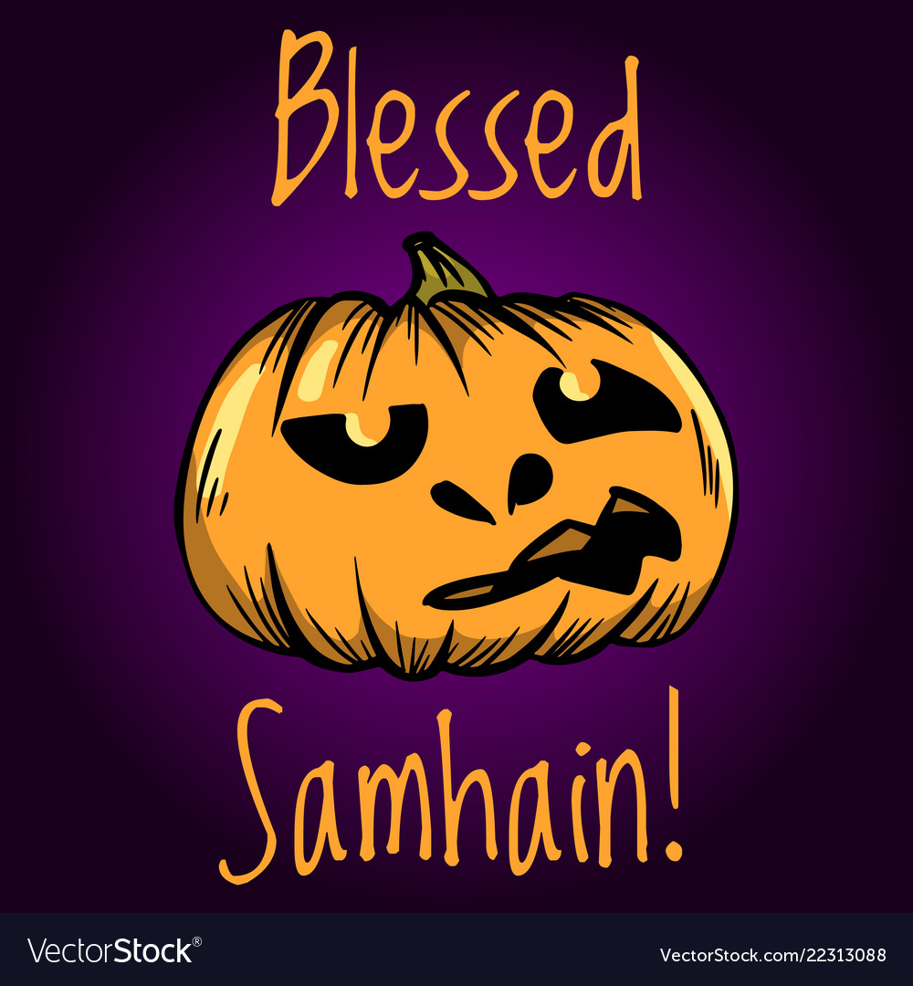 Blessed Samhain Greeting Card Halloween Banner Or Vector Image