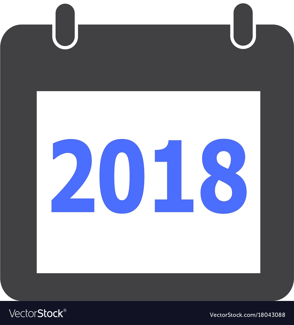Calendar 2018 icon on white background flat
