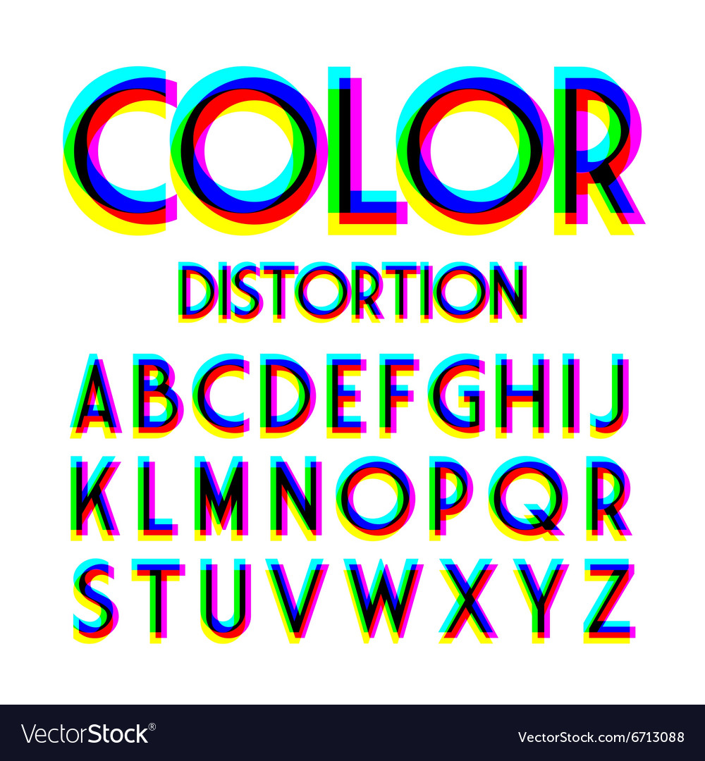 Color distortion alphabet vector image
