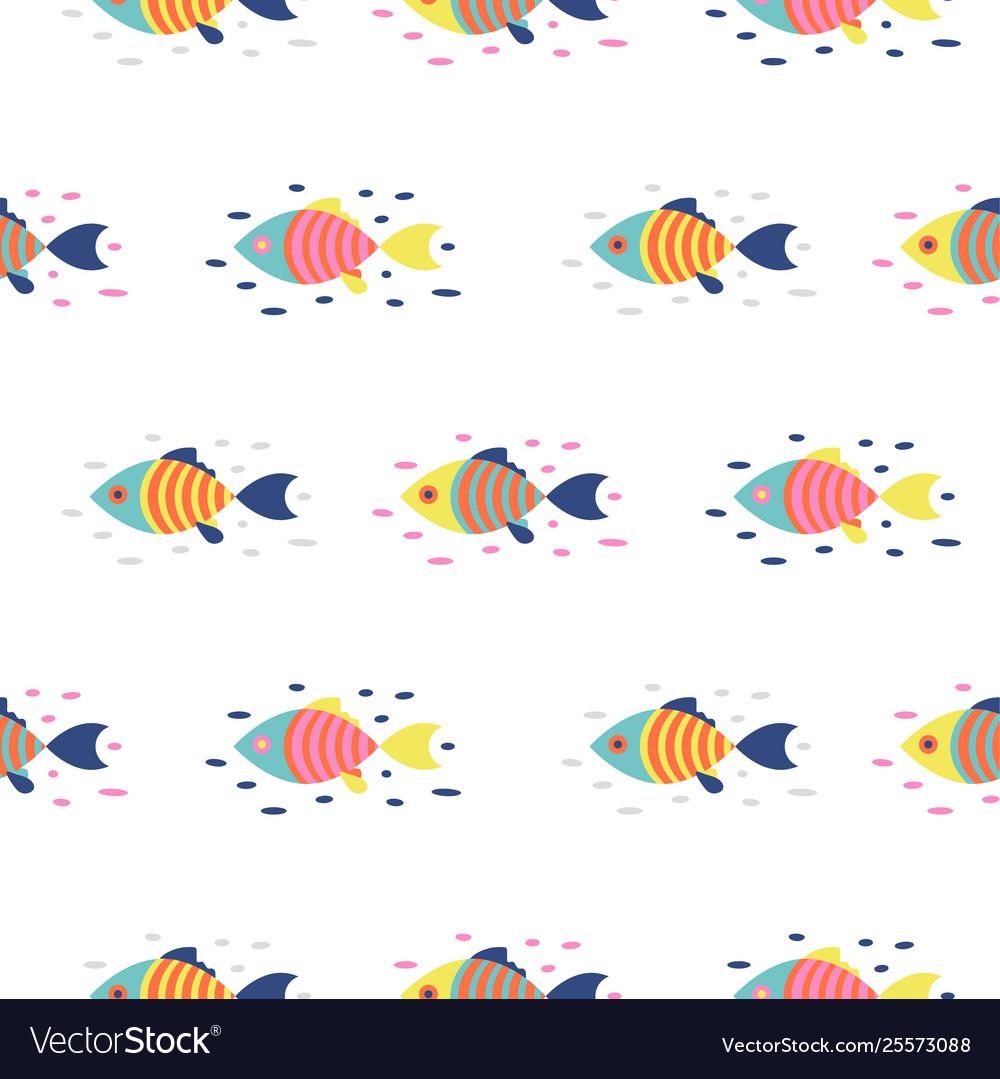 Colorful fish seamless pattern cartoon