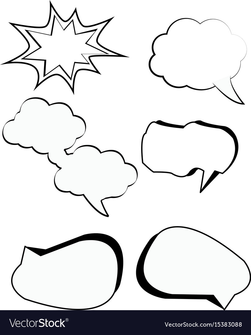 Comic bubbles cartoon text boxes set with cloud
