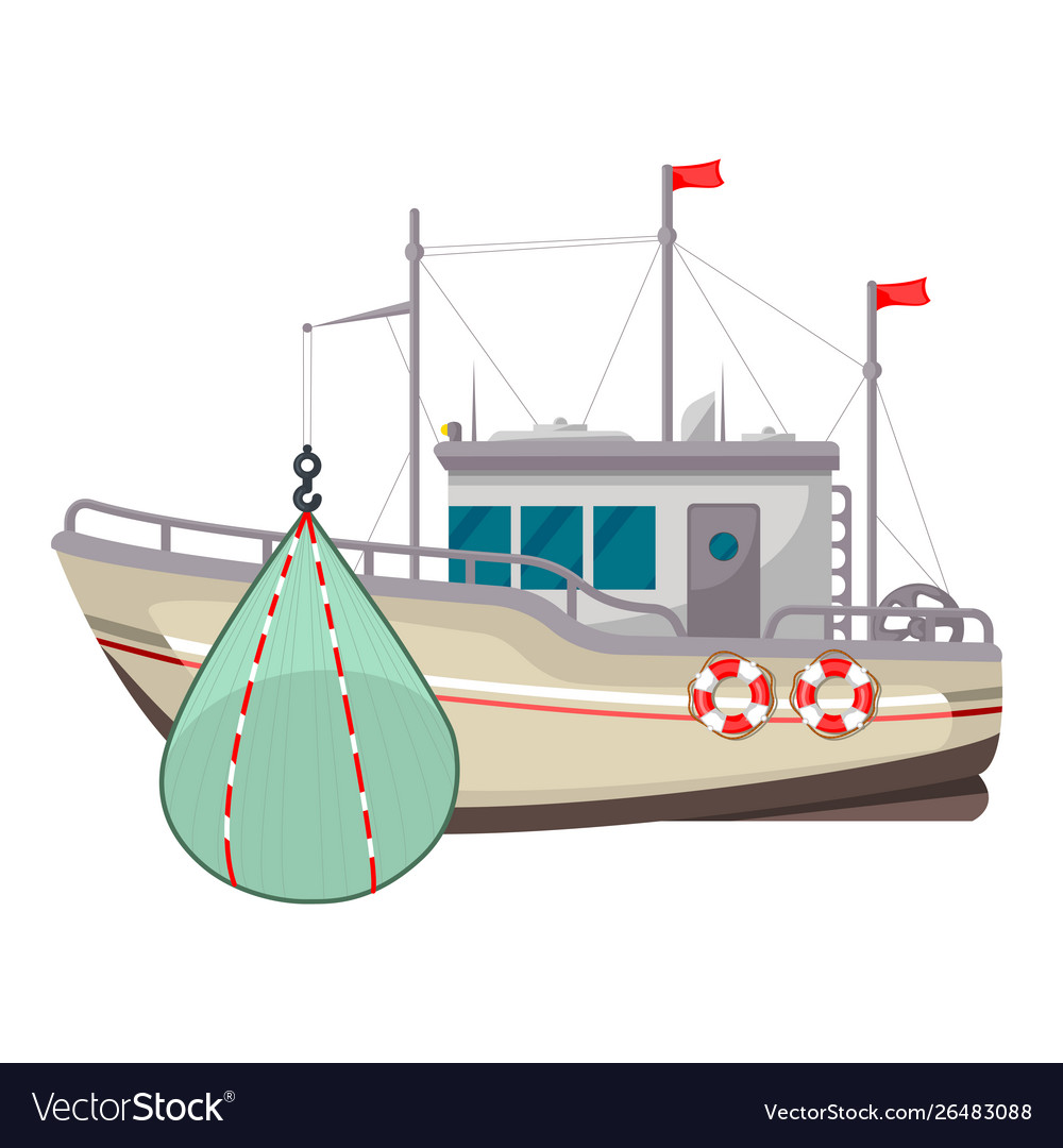 Fishing boat icon industrial yacht or vessel