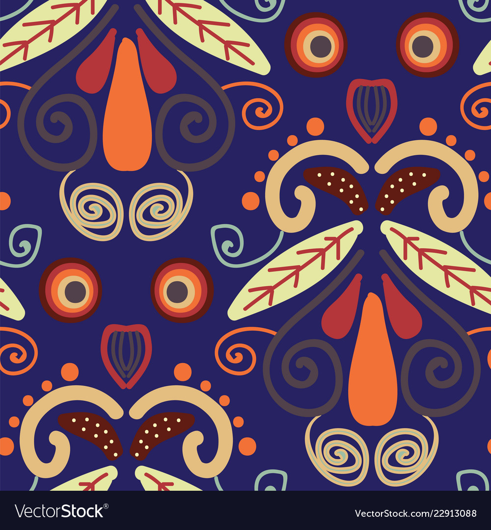 Folk orange red and yellow shapes on blue
