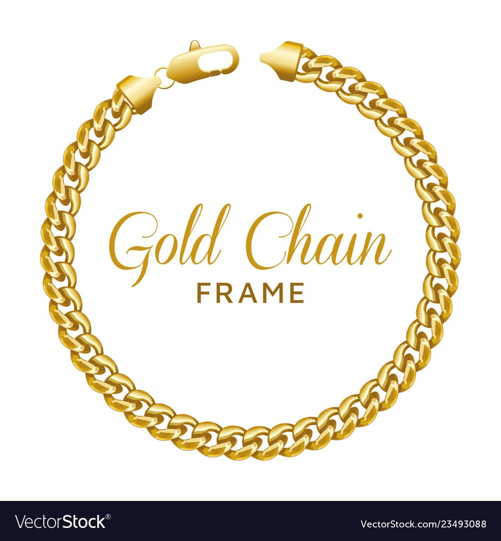 Gold chain round border frame wreath circle shape