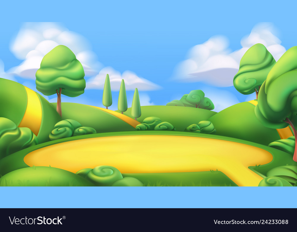 Nature landscape park 3d background Royalty Free Vector