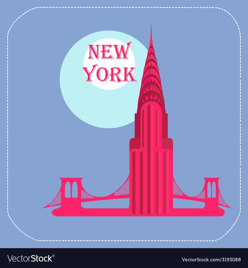New York Chrysler Building icon flat