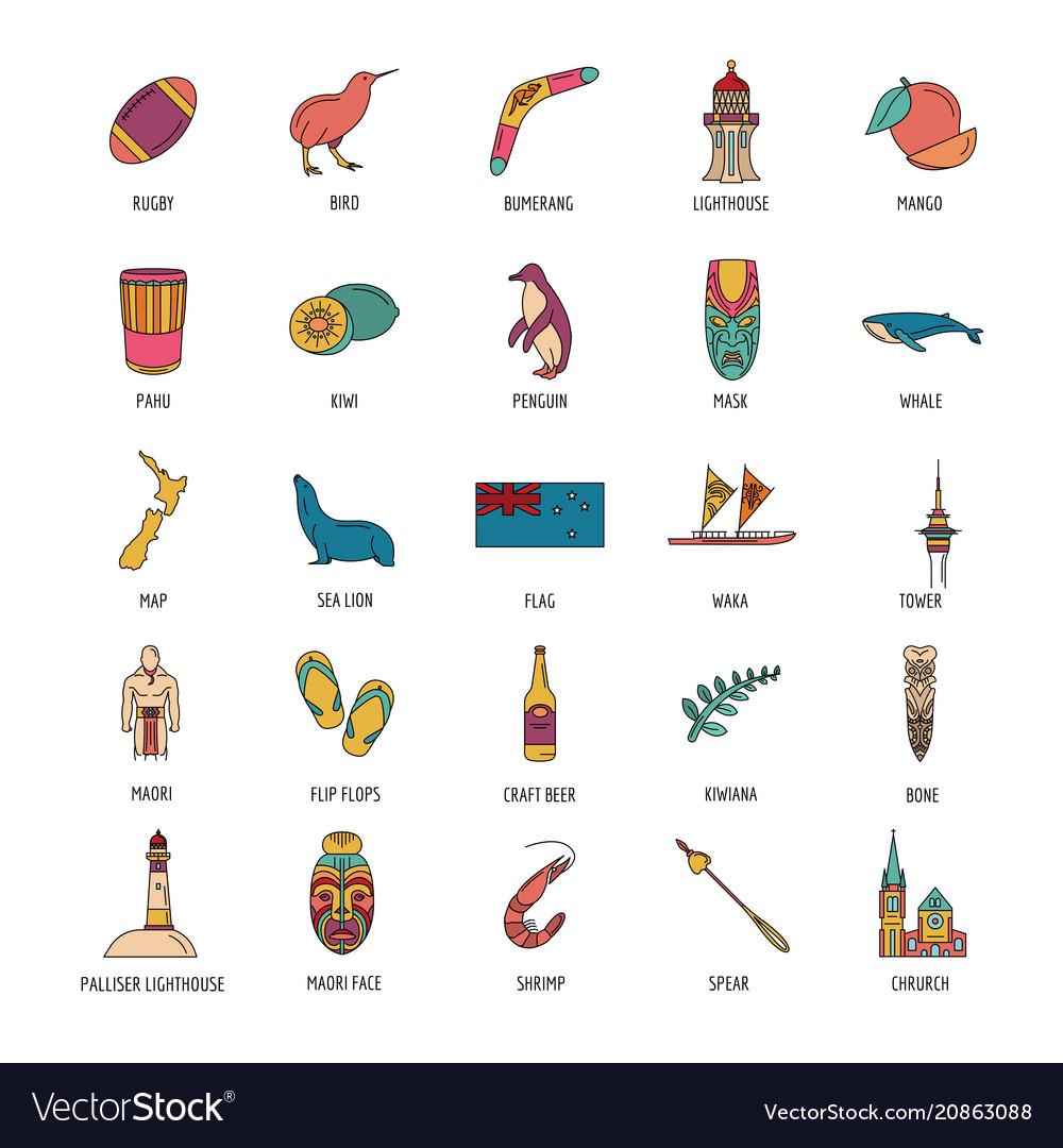 New zealand icons set cartoon style