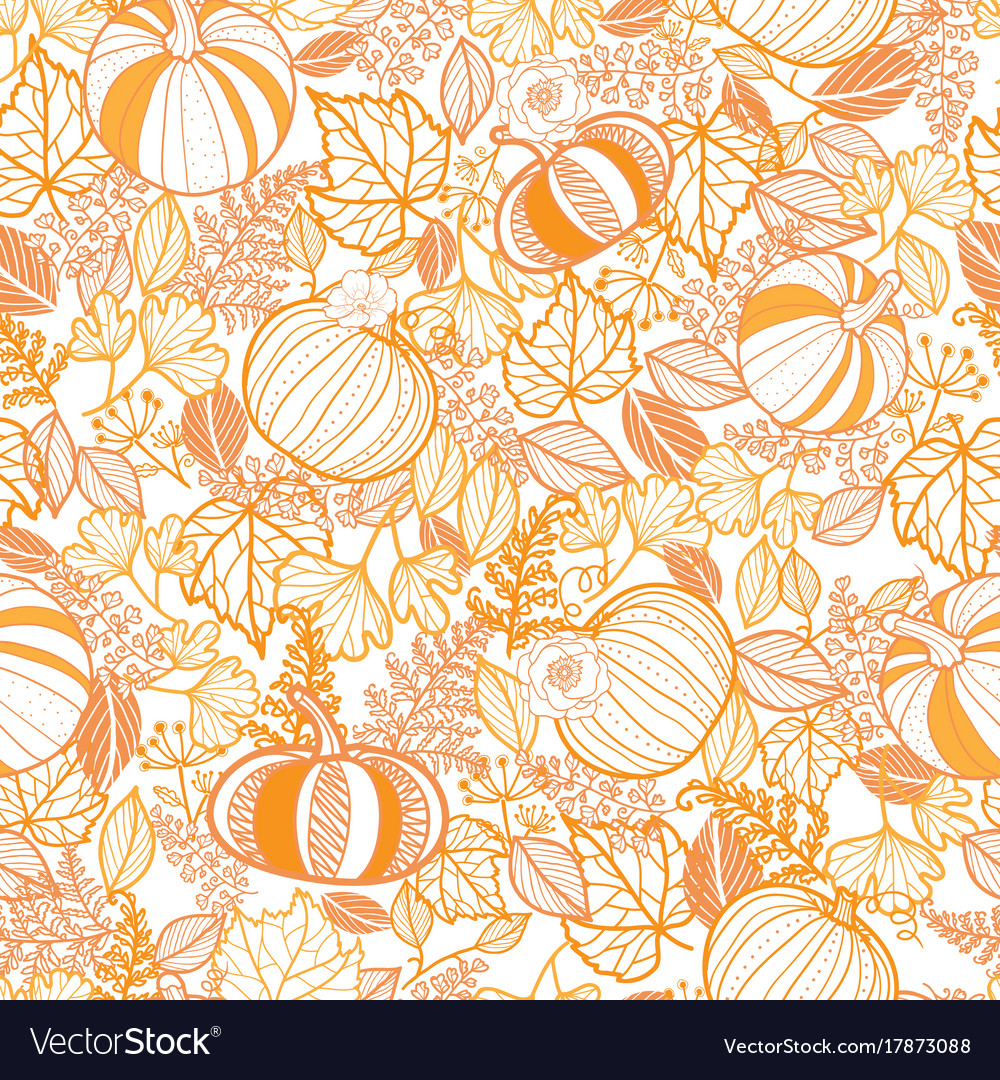 Orange ornate pumpkins seamless repeat
