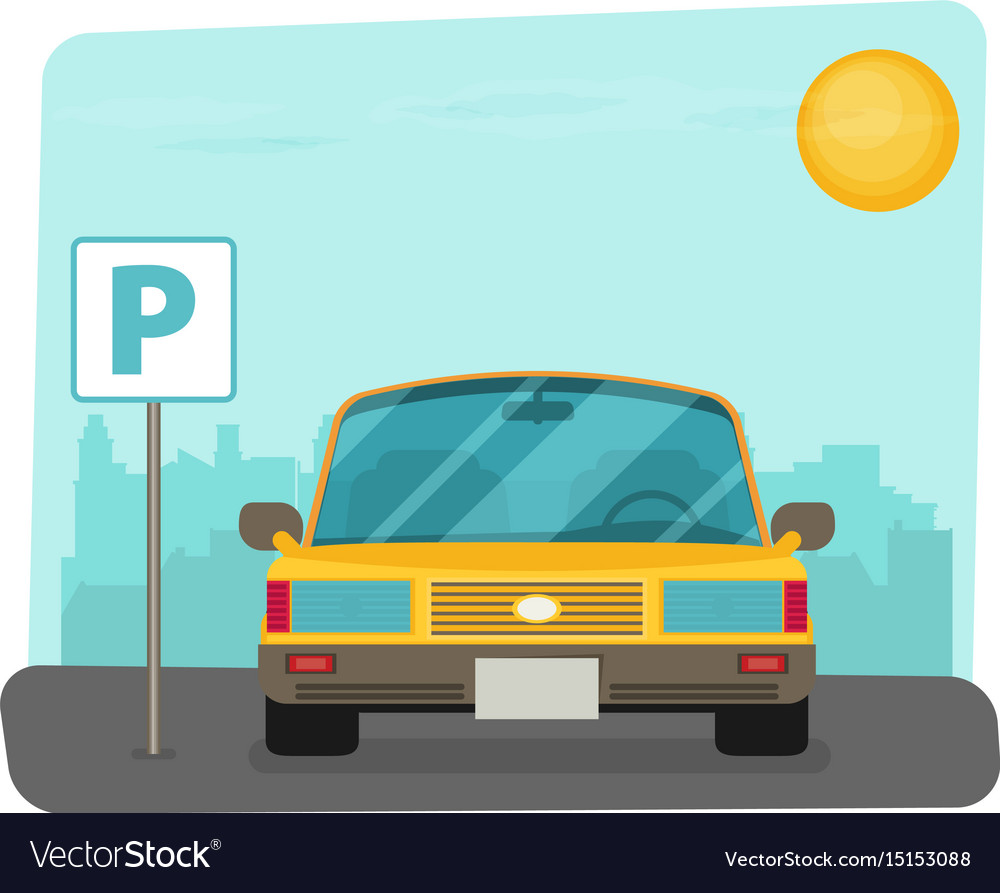 Parking lot flat parking lot sign near the car vector image