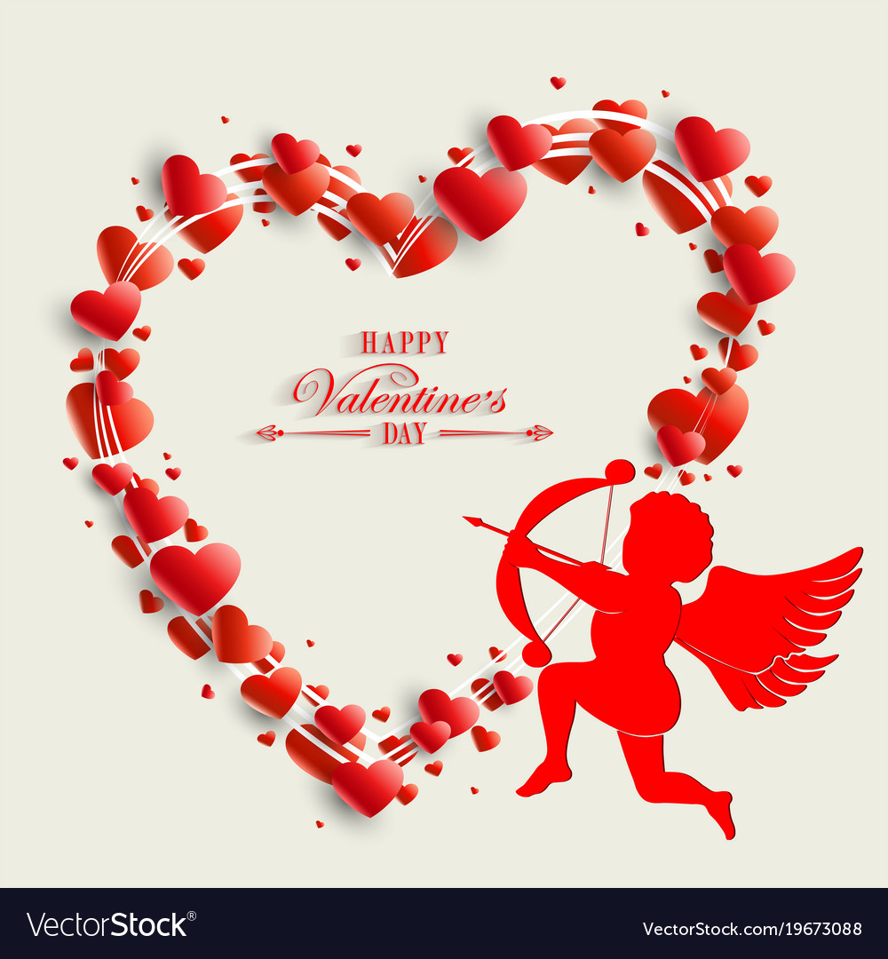 Silhouette Of The Heart With Cupid Royalty Free Vector Image