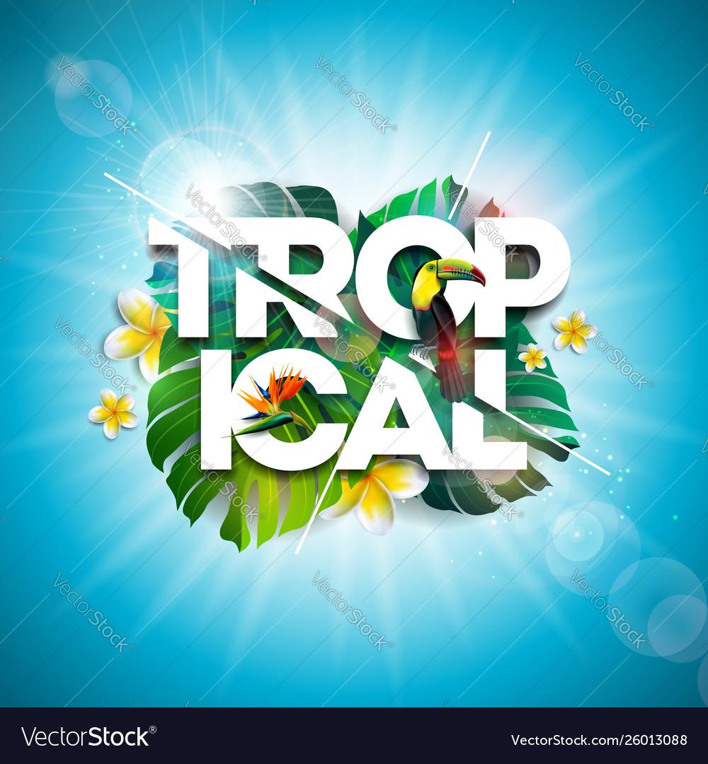 Tropical summer holiday design with toucan bird