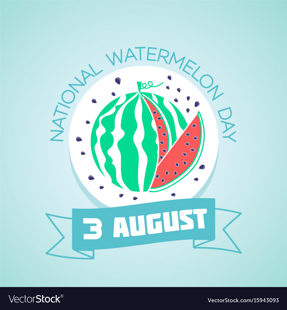 3 august national watermelon day vector image