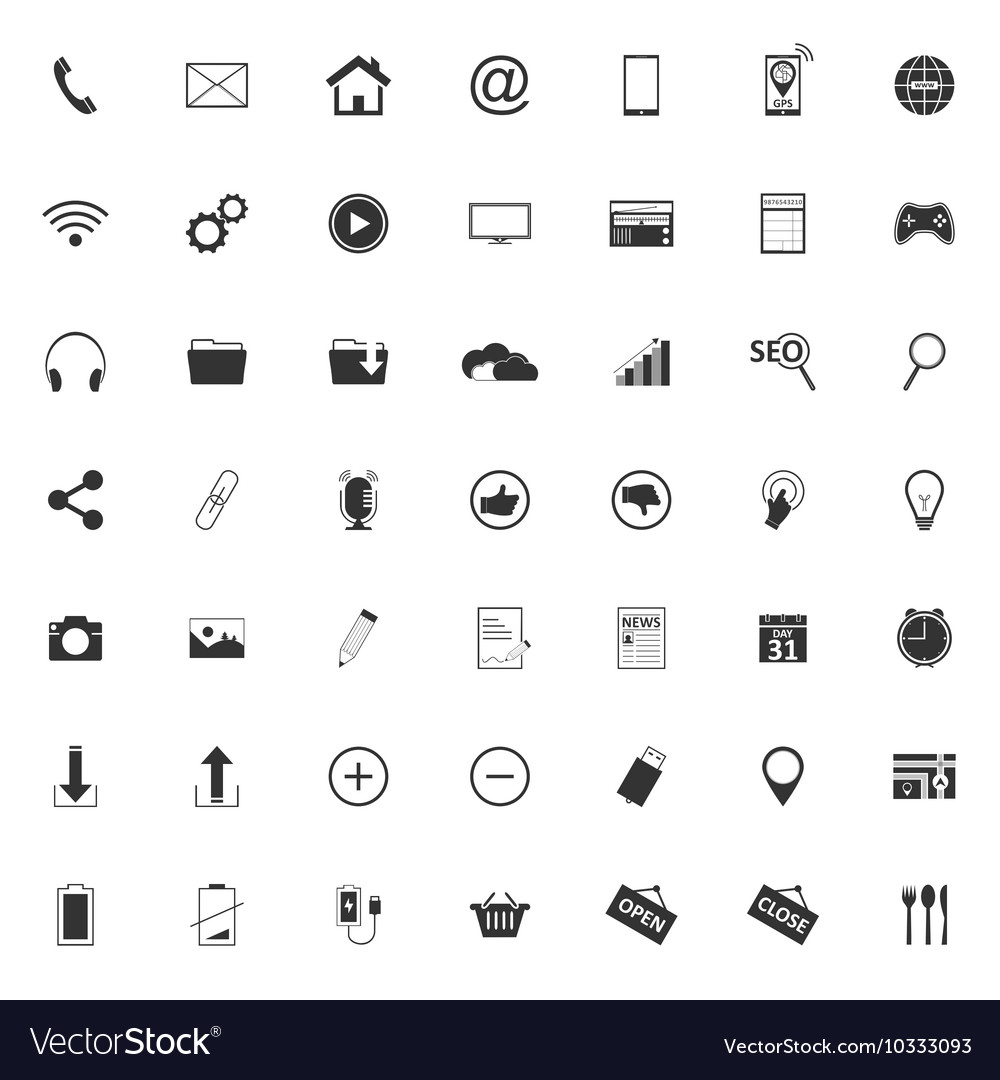 49 Different web icons pictogram