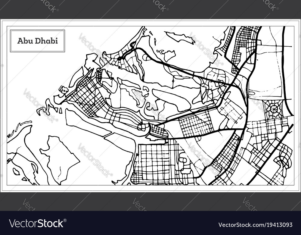 Abu dhabi uae map in black and white color Vector Image