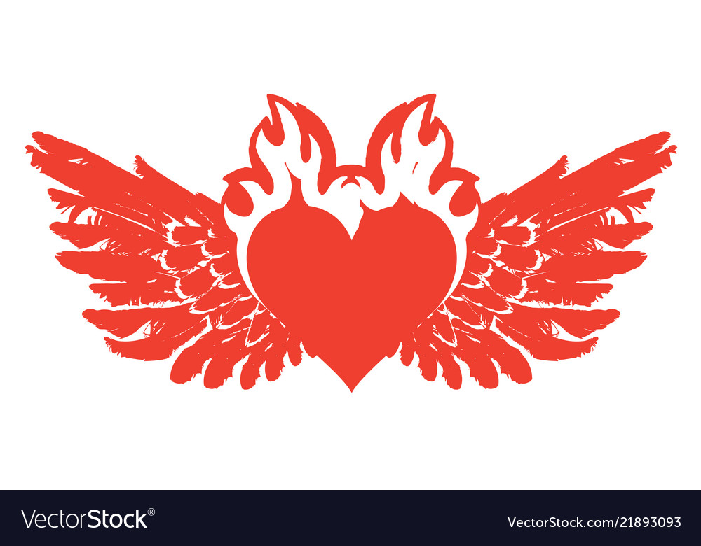 Banner with red flying heart with wings on fire