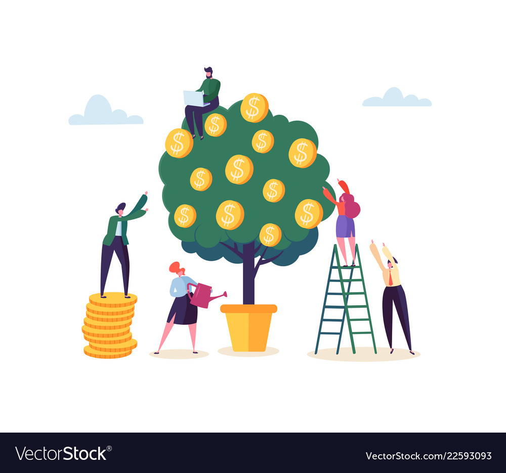 Business woman watering a money plant characters