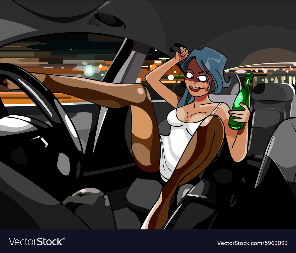 Cartoon funny drunk girl in the car with a bottle
