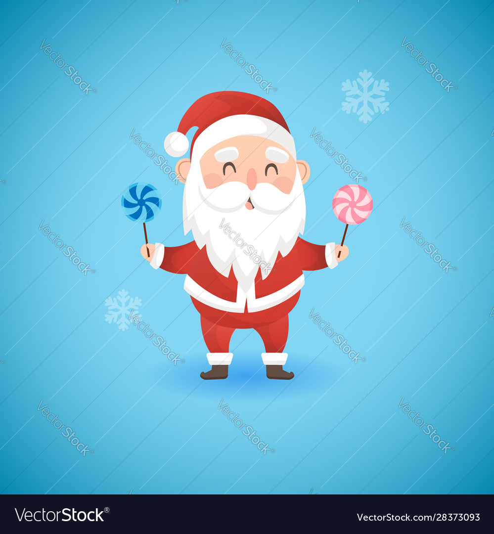 Christmas funny santa claus holding lollipops