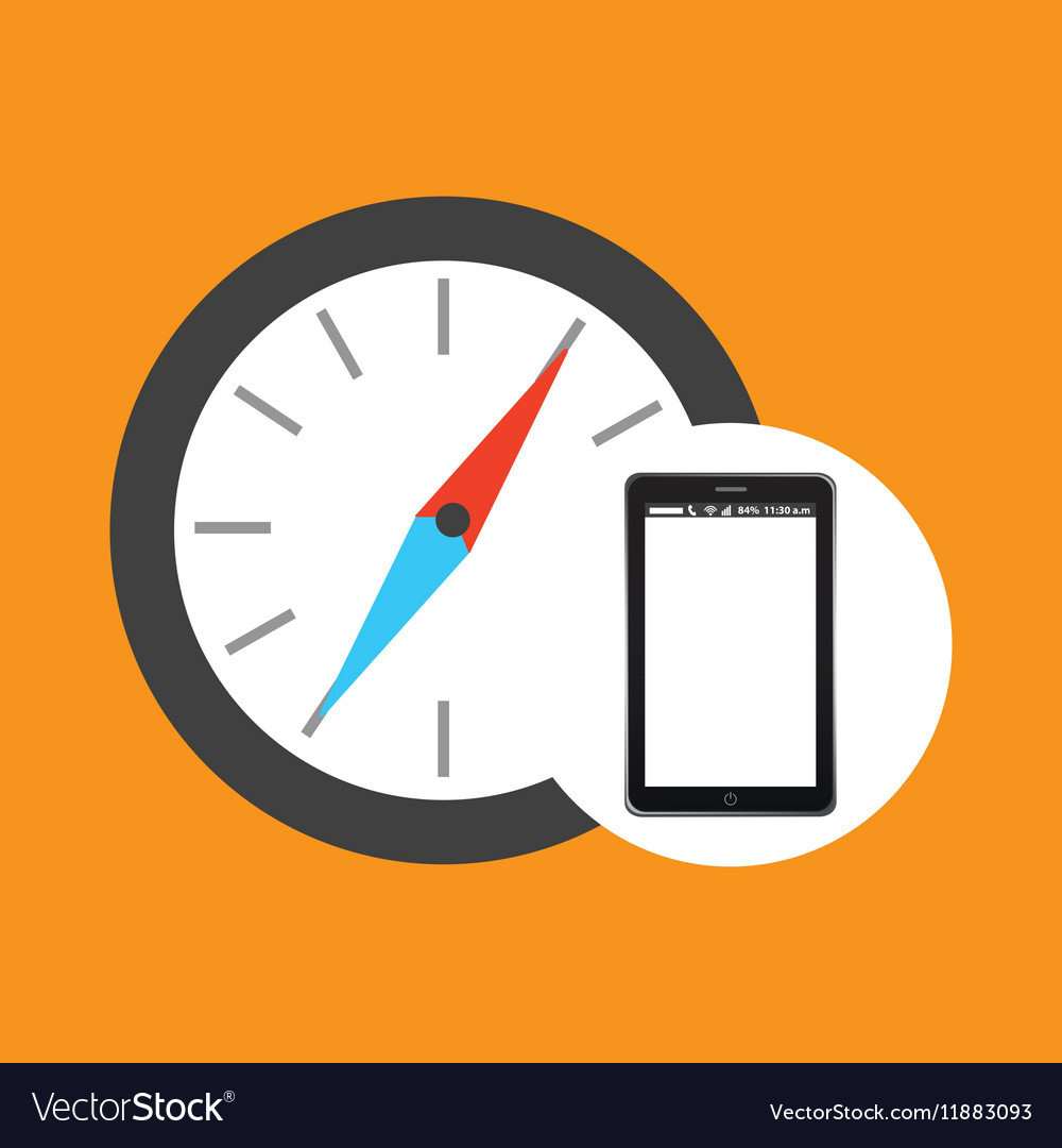 Compass mobile phone navigation vector image