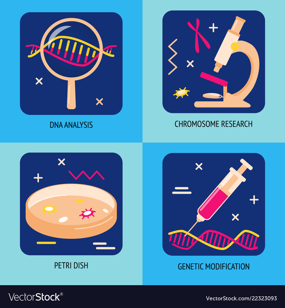 Genetic analysis and research icons in flat style