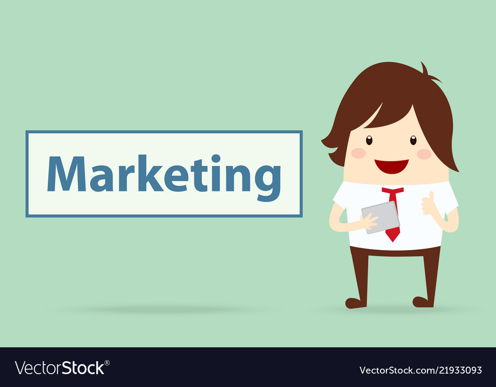 Happy businessman with marketing content business