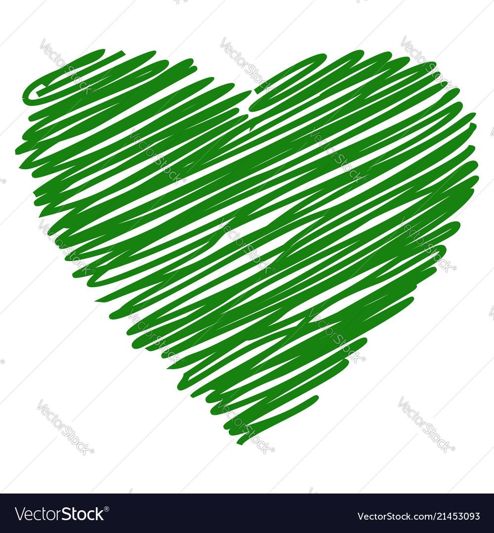Heart green hand drawn sketch