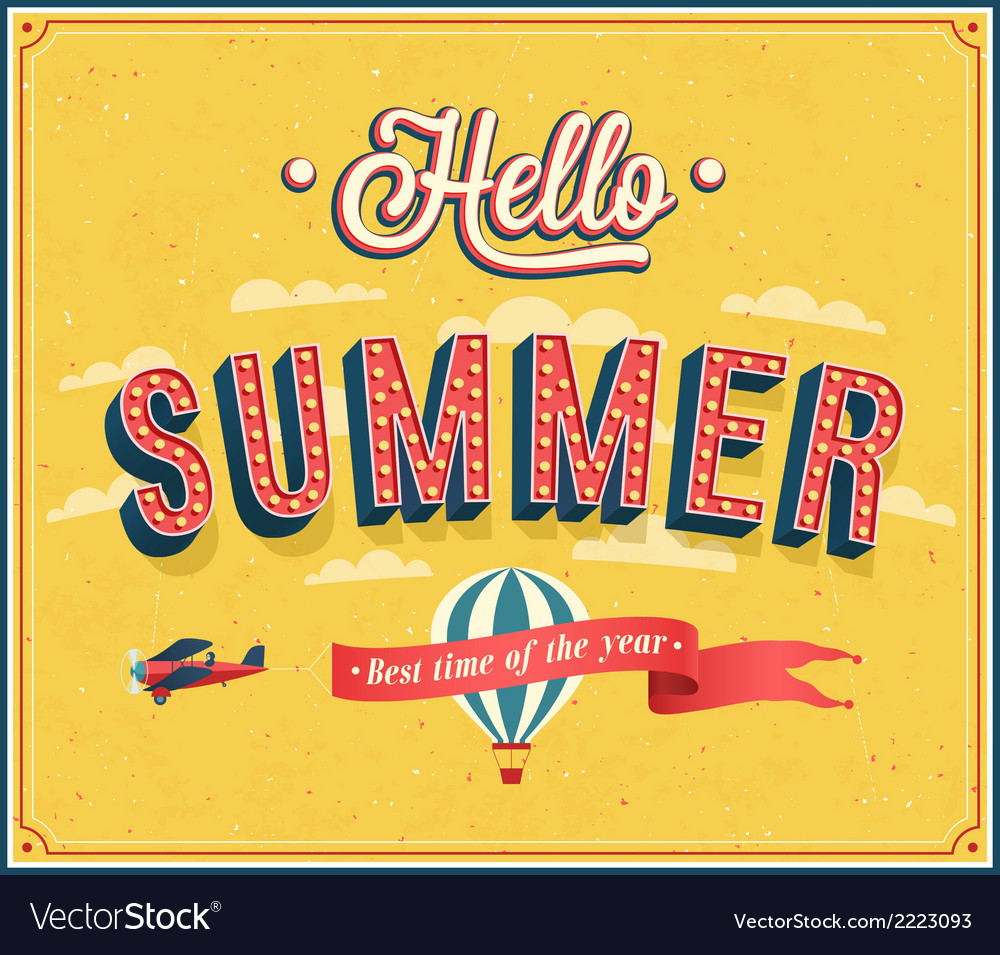Hello summer typographic design vector image