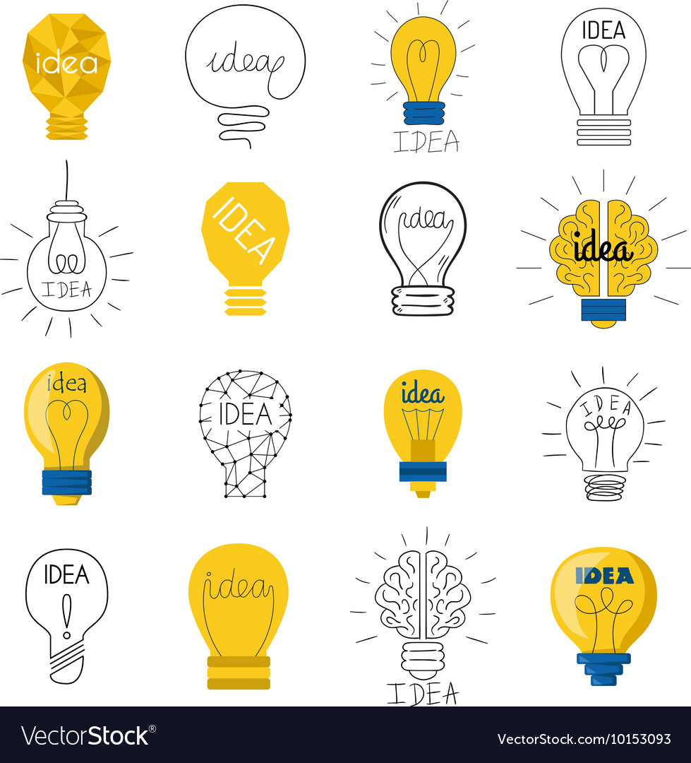 Idea lamp set vector image