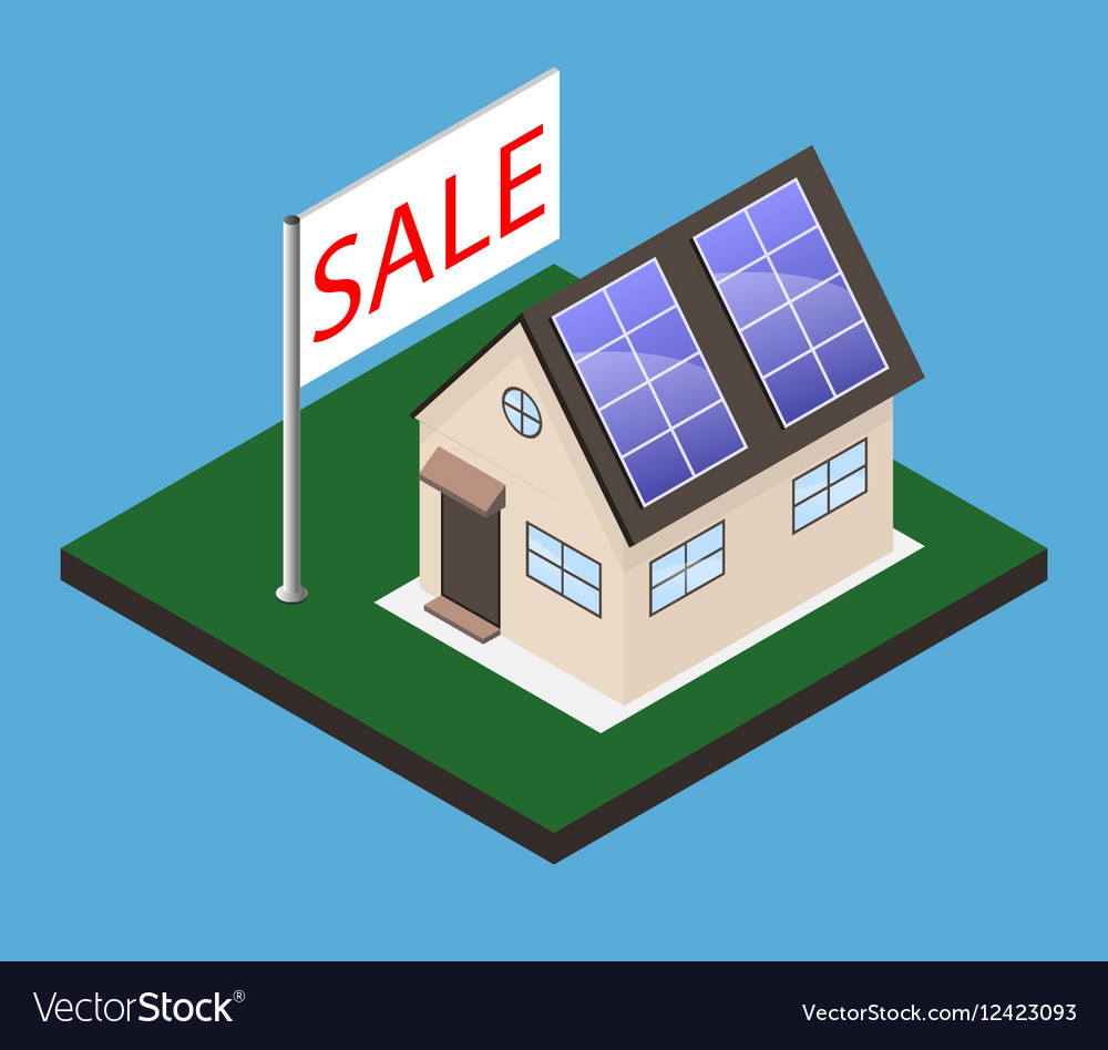 Isometric house with sale banner