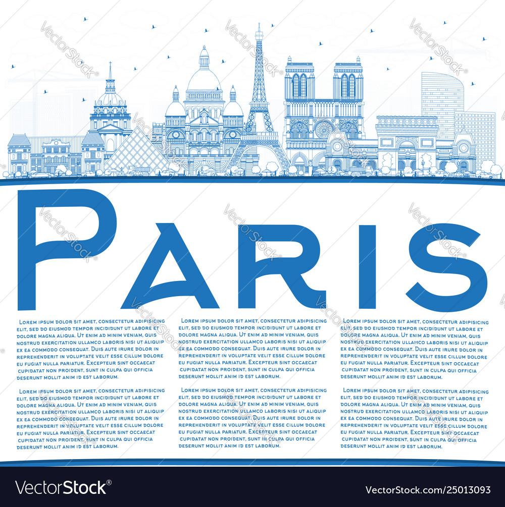 Outline paris france city skyline with blue