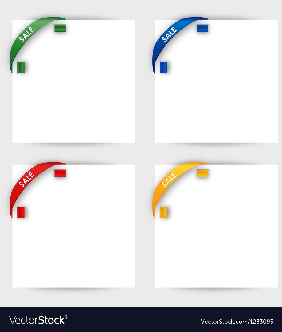 Sale corner ribbon on a white paper vector image