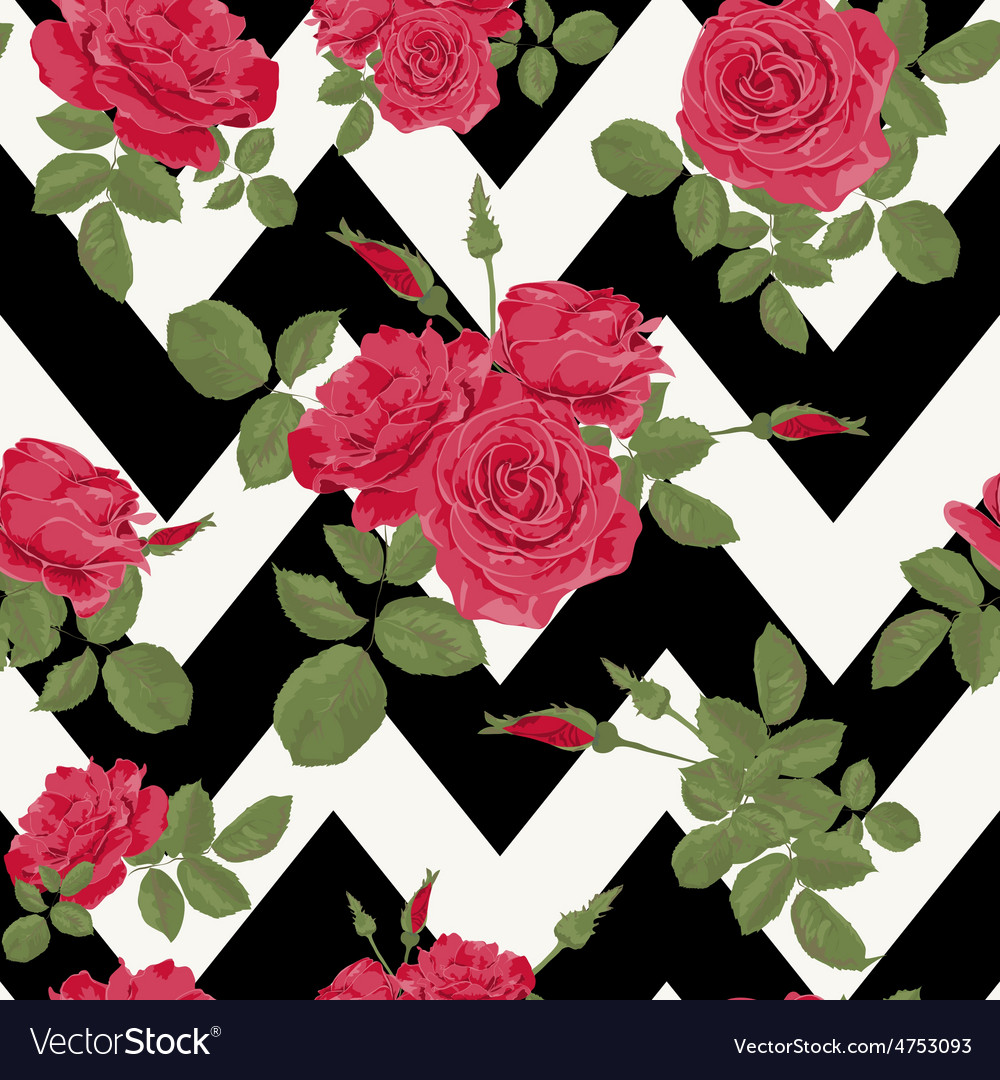 Seamless flower red roses pattern
