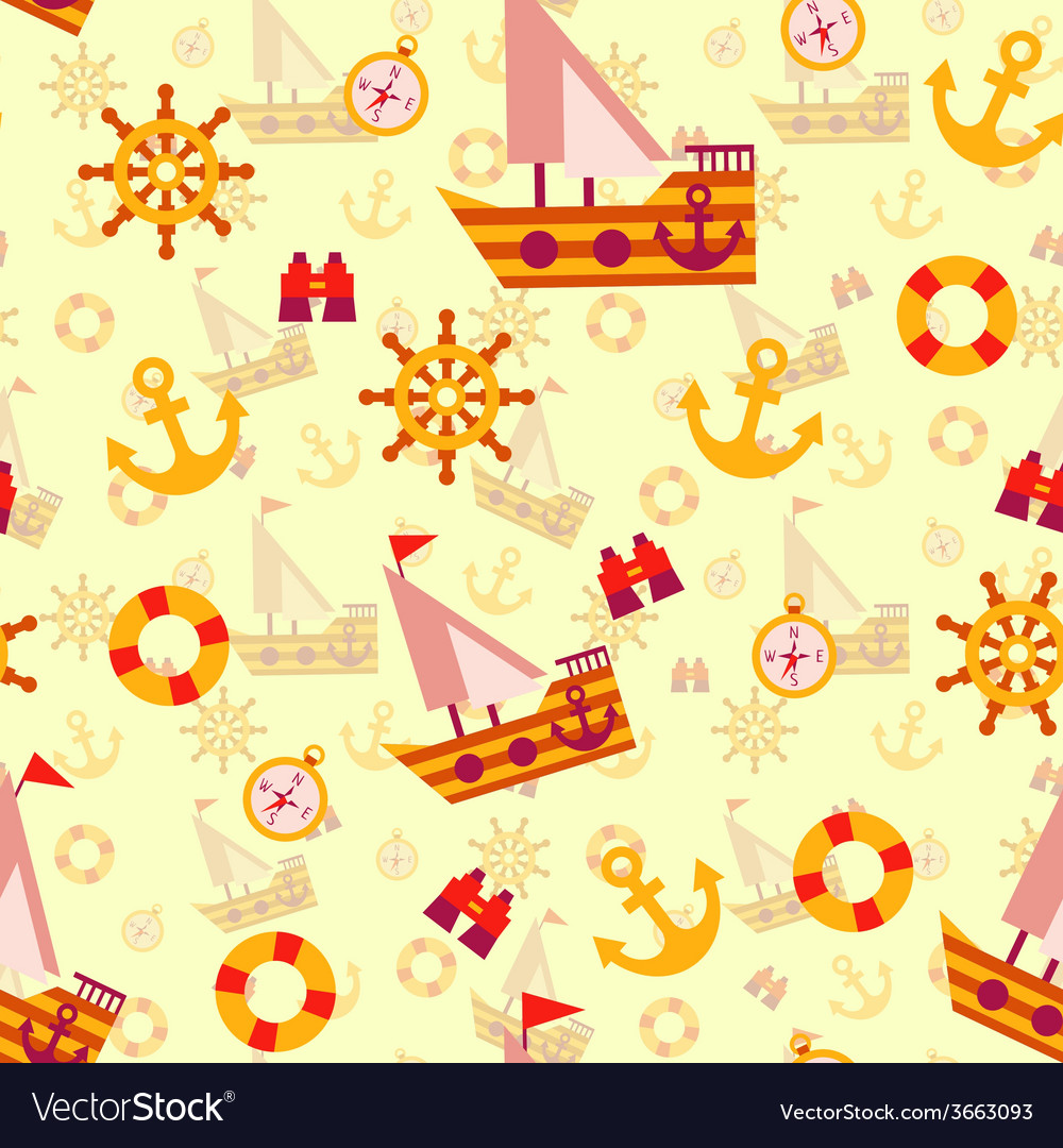 Seamless pattern with sea travel elements vector image