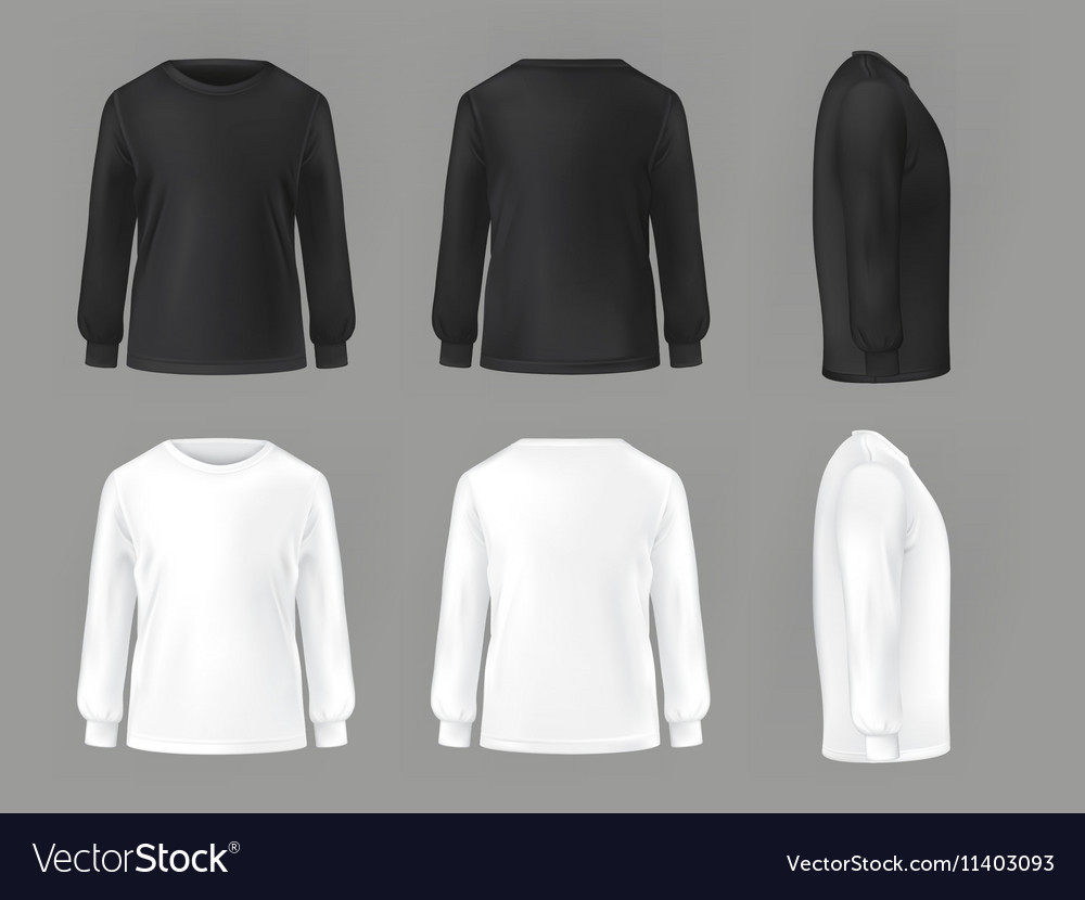 Set template of male T-shirts with long Royalty Free Vector