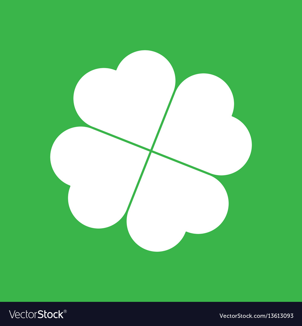 Shamrock Silhouette White Four Leaf Clover Icon Vector Image