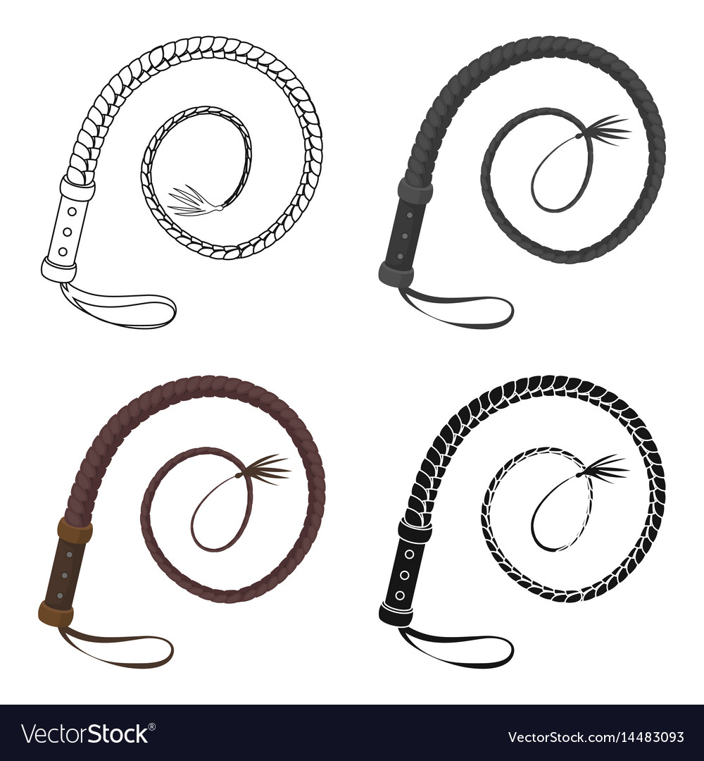 Whip icon in cartoon style isolated on white vector image