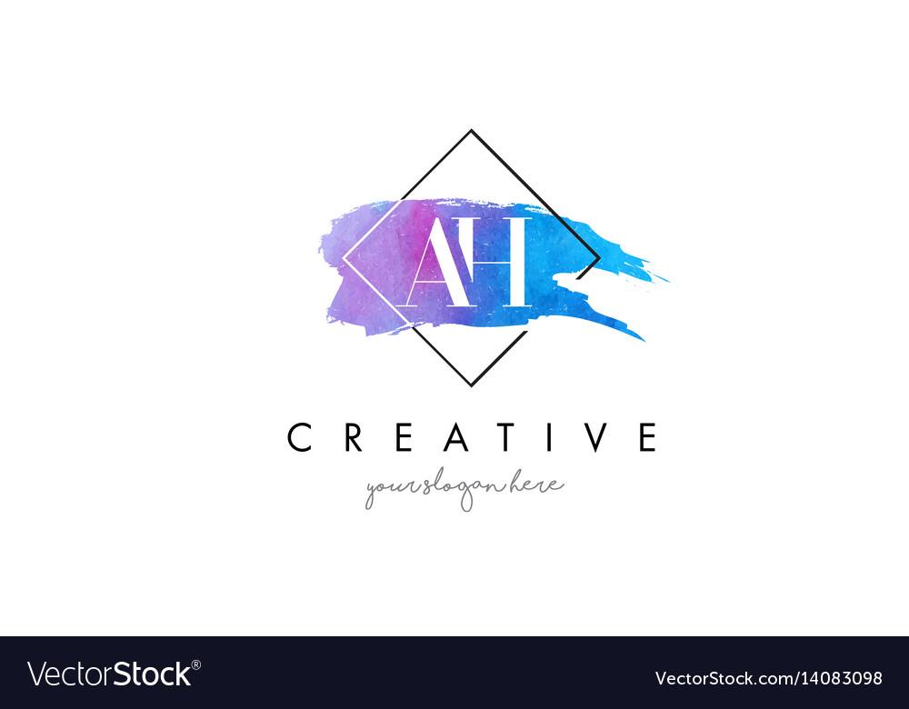 Ah artistic watercolor letter brush logo