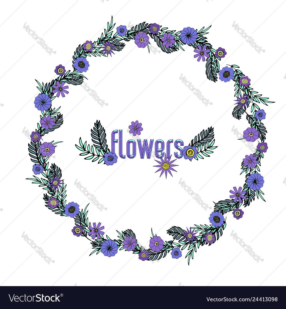 Beautiful hand-drawn purple floral wreath