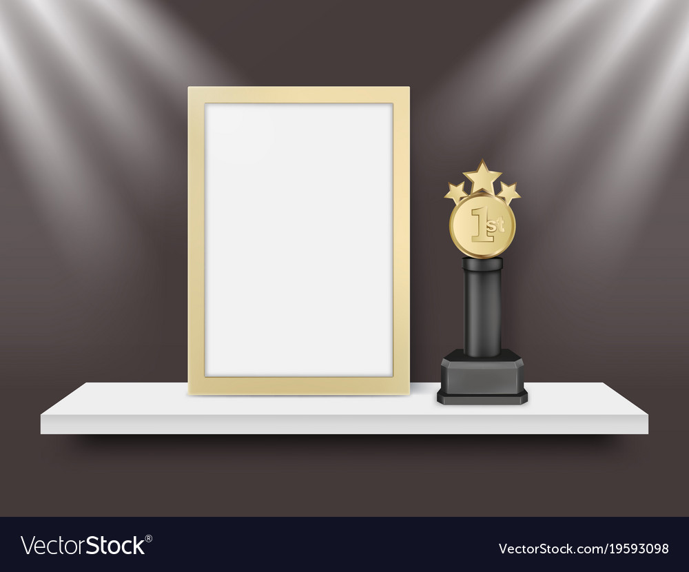 Blank light frame and metal award trophy Vector Image