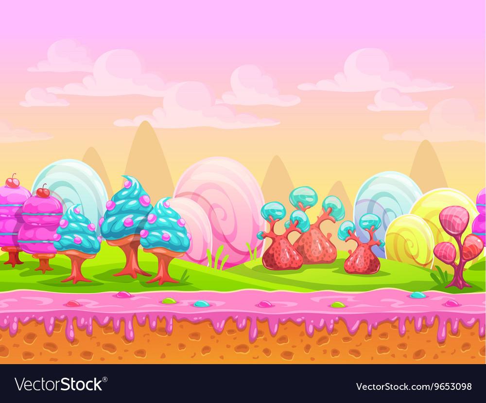 Cartoon fantasy candy land location vector image