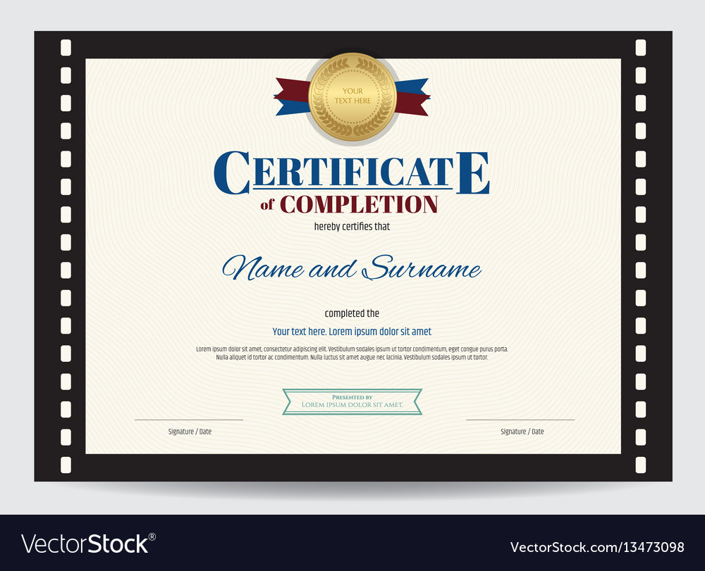 Certificate Of Completion Template With Movie Vector Image