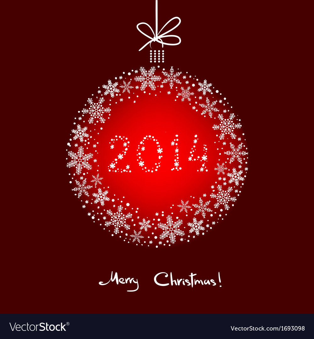 Christmas Background with White Snowflakes Ball vector image