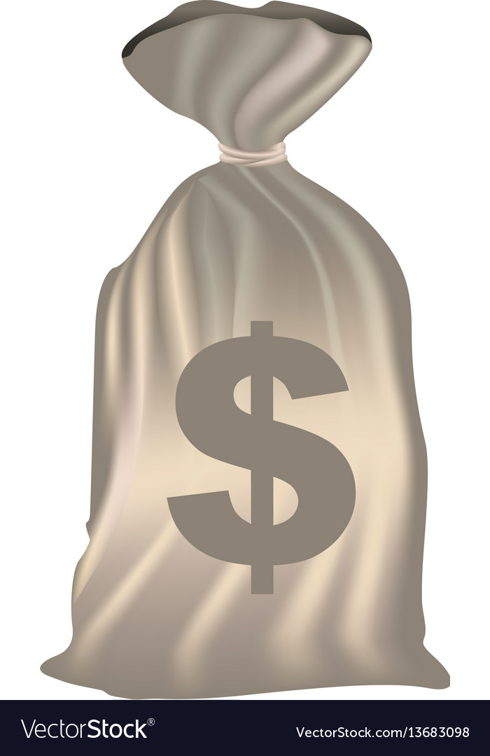 Color silhouette with money bag of bank closed vector image